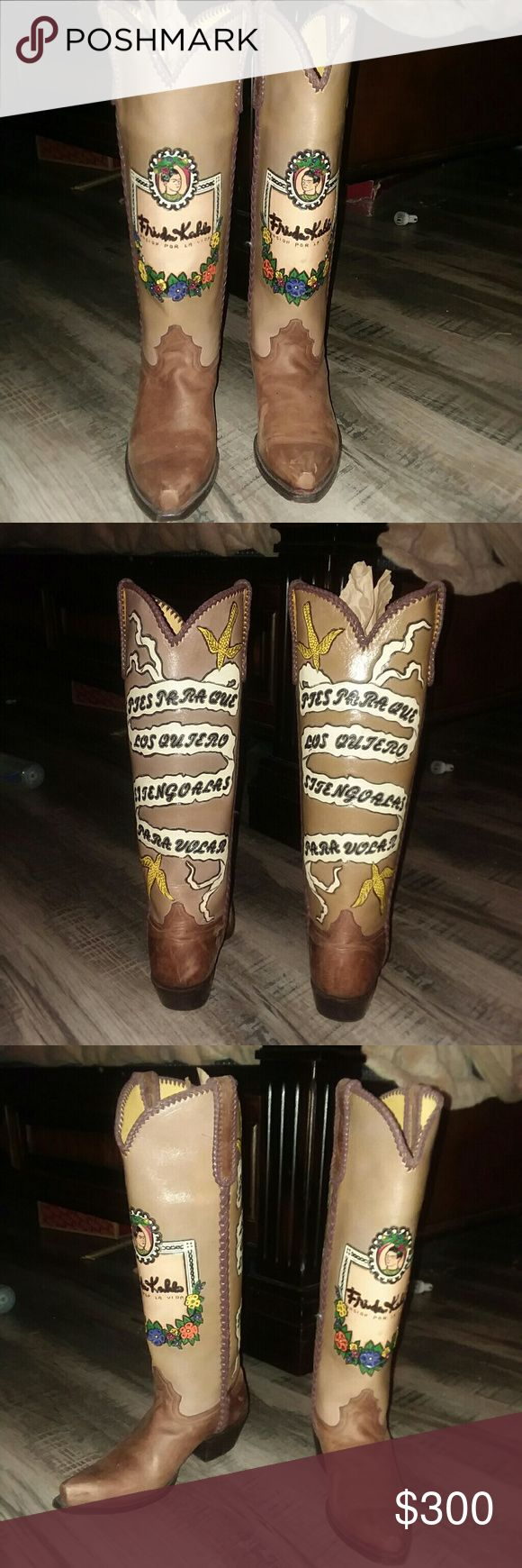 """Freda Kahlo- If I have wings to fly Boots beautiful tall custom leather boots Freda Kahlo quote-       """" Feet what do I need them for If I have wings to fly"""" Custom Shoes Heeled Boots"""