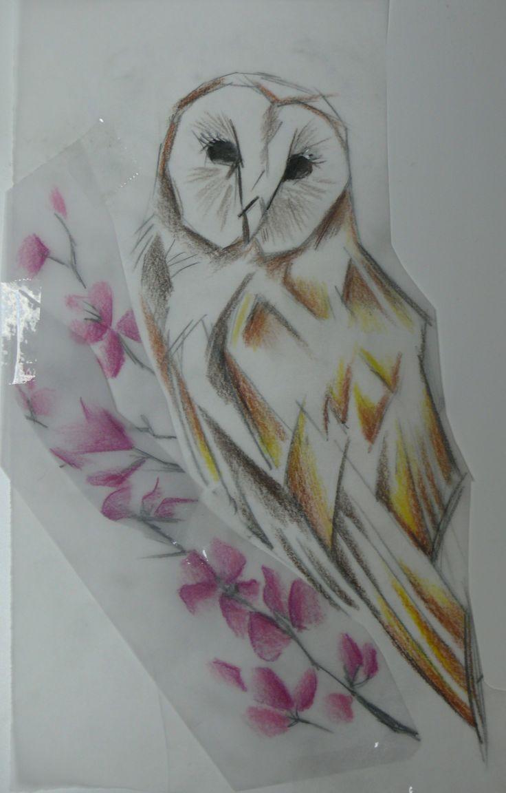 Dessin de tatouage (avant bras) pas Gaëlle Mouster, L'Atelier du Corps, Longueuil. #hibou # Aquacolor #Tattoo