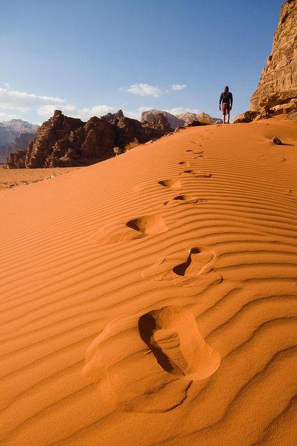 Wadi Rum, Jordan. Source: http://visitheworld.tumblr.com/post/22601840985/footsteps-in-the-sand-wadi-rum-jordan-by   http://exploretraveler.com