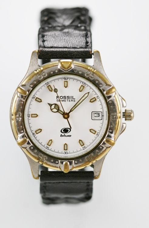 Fossil Blue Watch Mens 50m Stainless Silver Gold Leather Black Date White Quartz
