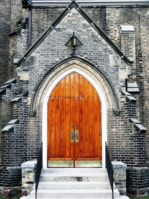 These are the side doors of Grace Anglican Church-Brantford, Ontario, Canada