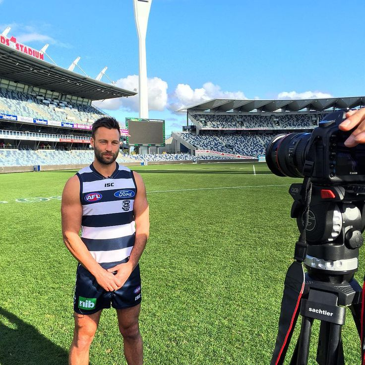 #AFL Brownlow Medallist and #Geelong Cats superstar Jimmy Bartel being interviewed.   #stadium #sport #film #photography #photooftheday #sun #sky