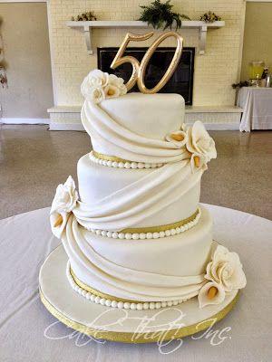 31 best Golden Anniversary Cake Ideas images on Pinterest | Golden ...