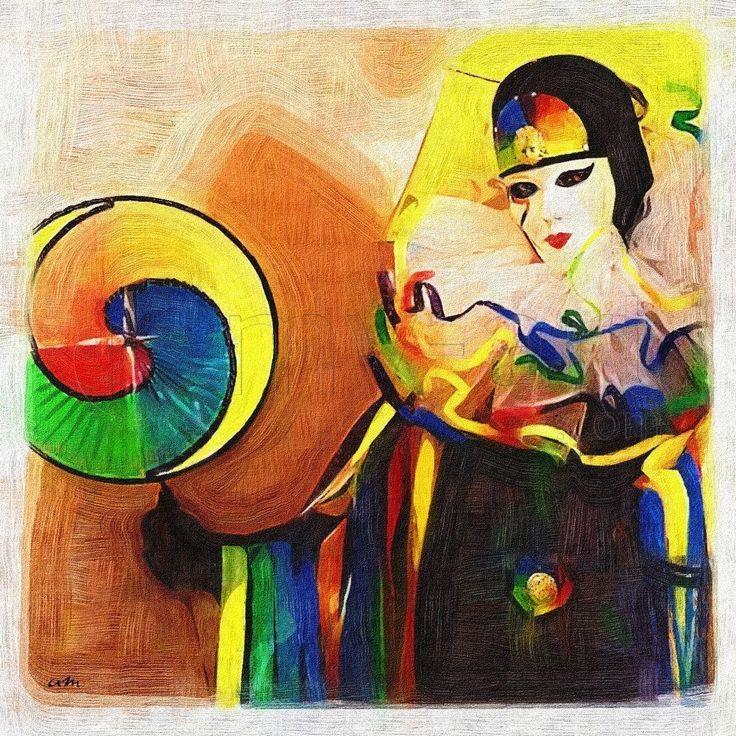 Tableau Peinture dessin Masque Venise une toile de sudpastel