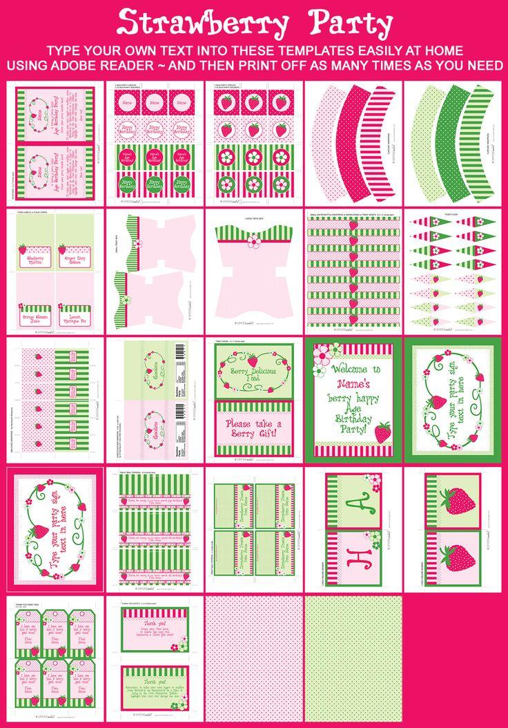 Strawberry Shortcake Party Printable Templates