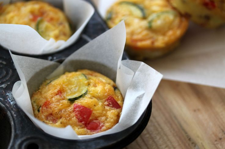 Petite Vegetable Frittata = I subbed the zucchini for cherry tomatoes and cooked it for 3 times longer than it called for.  They were good, but next time, I won't use the yellow peppers.