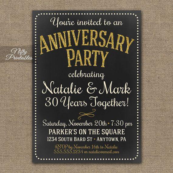 Chalkboard Anniversary Invitations - Printable Gold Cream Gray Chalkboard Invitation 10th 15th 25th 30th 40th 50th 60th 20th Invites CHK