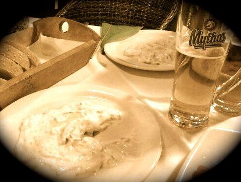 Mythos beer and Greek tzatziki