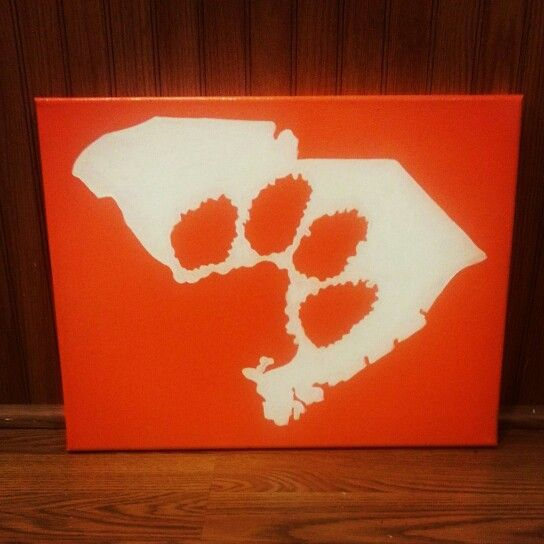 Clemson paw cut out of the South Carolina state painted on canvas November 2014