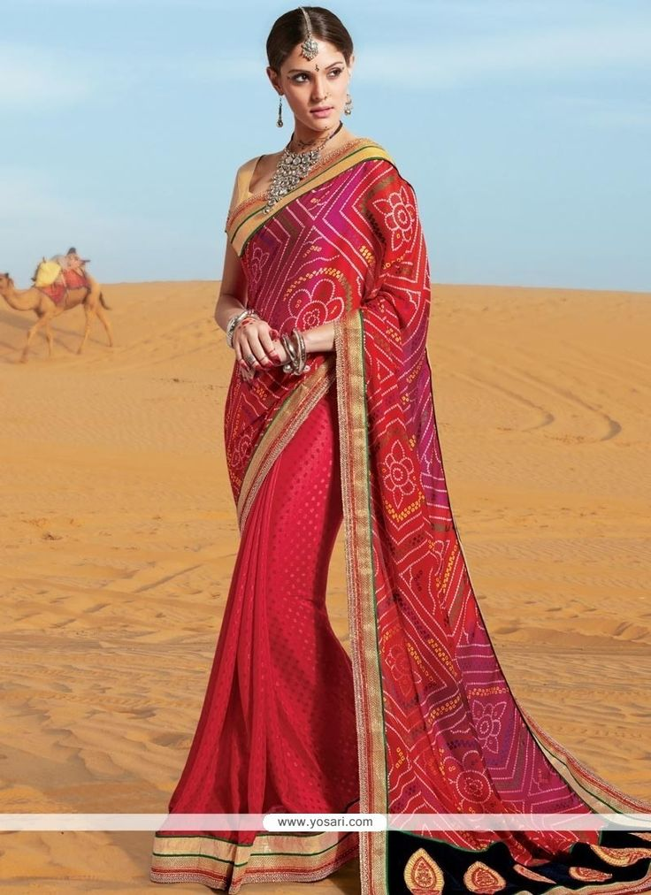 Awesome Print Work Multi Colour Georgette Printed Saree Model: YOSAS0375