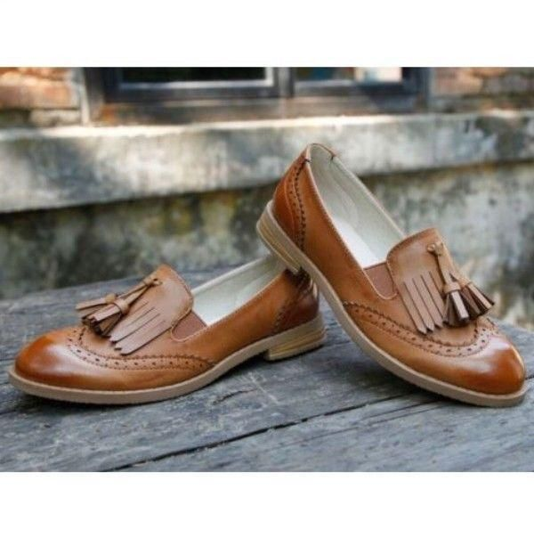 Womens Oxford Brogue Wingtip Tassel Loafer College Low Heel Dress Slip Ons Shoes #loafersoxford