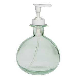 Bulbous recycled glass soap dispenser eco friendly for Green glass bath accessories