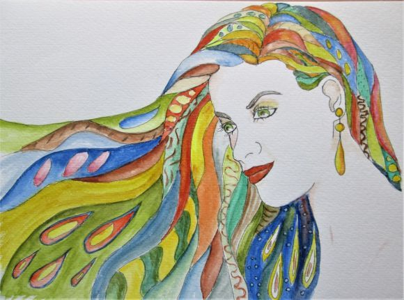 Portrait of woman, 70-ish inspired