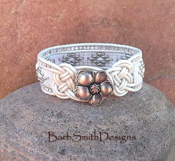 ON SALE White Beaded Leather Cuff Bracelet  by BarbSmithDesigns