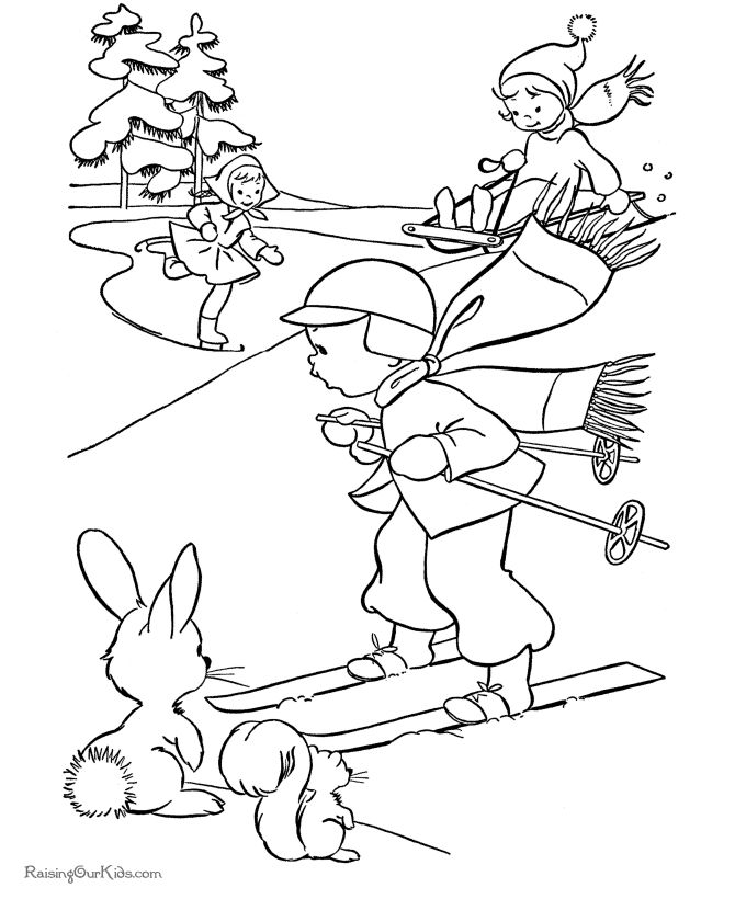 Free kids printable Christmas coloring pages - Winter fun!