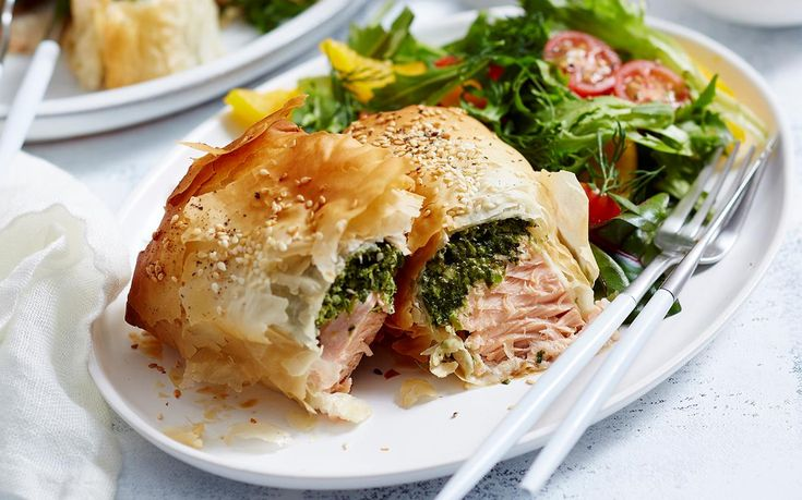 Spinach feta and salmon parcels