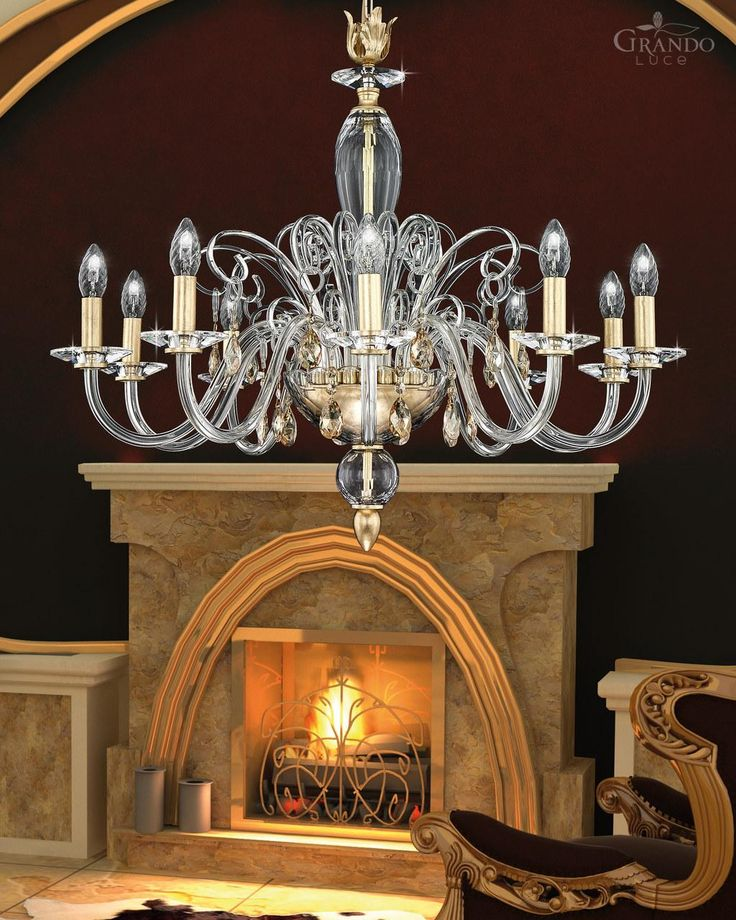 Chandeliers Contessa 120/10 CH gold leaf crystal chandelier