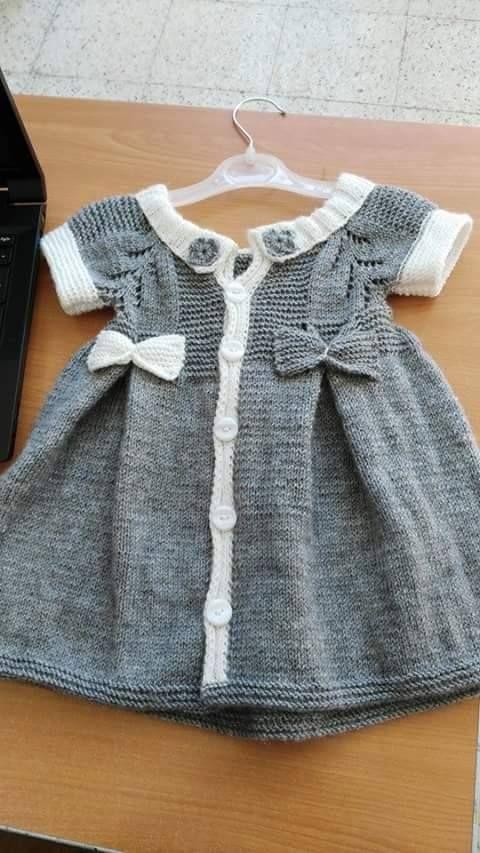 Gri beyaz örgü çocuk elbise | Örgü Modelleri - Örgü Dantel Modelleri