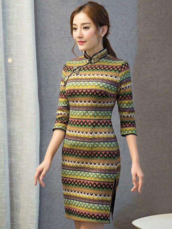 Delightful Stripped Sweater Qipao / Cheongsam Dress