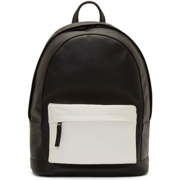 Pb 0110 SSENSE Exclusive Black and White Matte Leather Small Backpack featuring polyvore, fashion, bags, backpacks, accessories, bolsos, clothing, zip bags, zipper bag, genuine leather backpack, distressed backpack and leather backpack