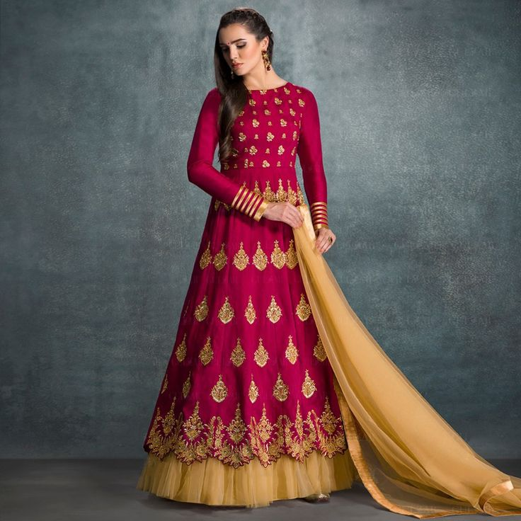 Buy Latest Magenta Anarkali Suit - Online Women Ethnic Wear at Peachmode.com