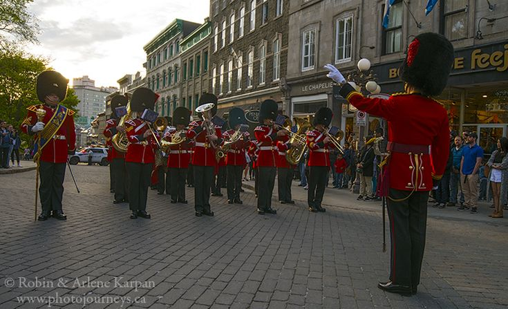 Royal 22nd Regiment band playing and marching in Quebec City.