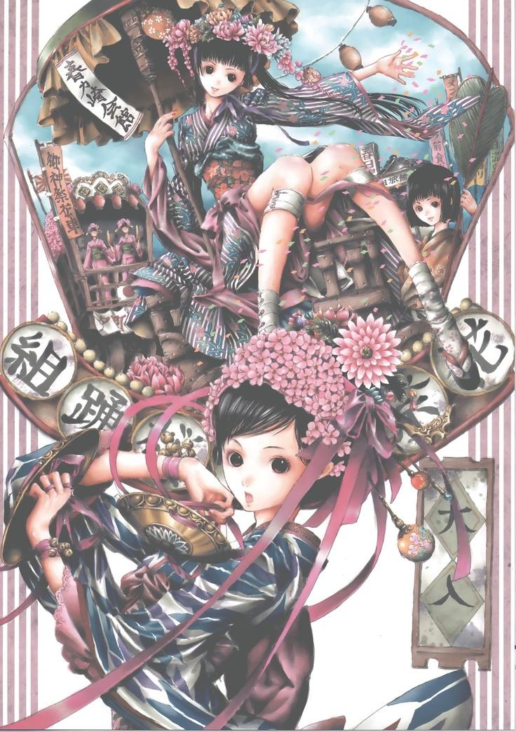 Japanese Parade Anime Girls Wallpaper by Tukiji Nao