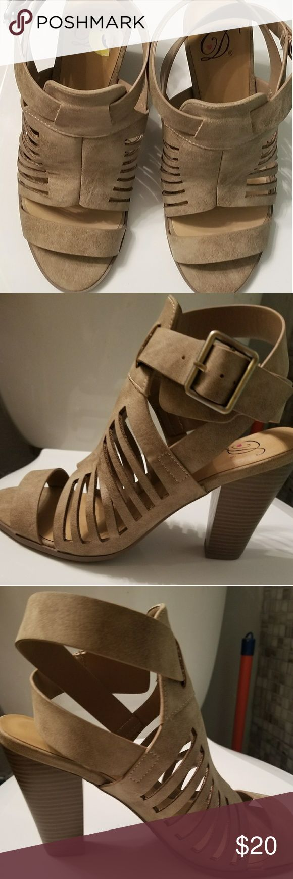 Beige Strappy Heeled Sandals Beige and velour Strappy sandals practically brand new worn maybe once or twice in my home size 9 Shoes Heels