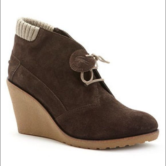 """Lacoste Brown Suede Ankle Boots Brand new never worn! Beautiful brown genuine suede leather ankle boots with contrast laces and cuffs on the back. 3"""" wedge heel. Lacoste Shoes Ankle Boots & Booties"""