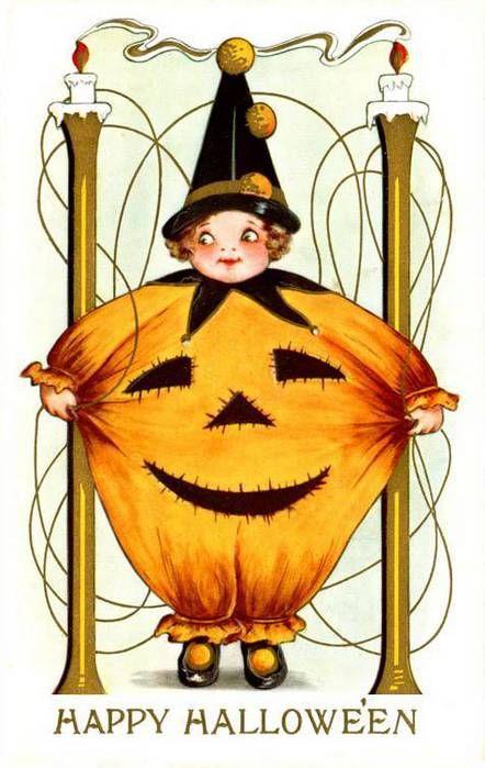 Старинные открытки к хэллоуину, поздравление днем рождения