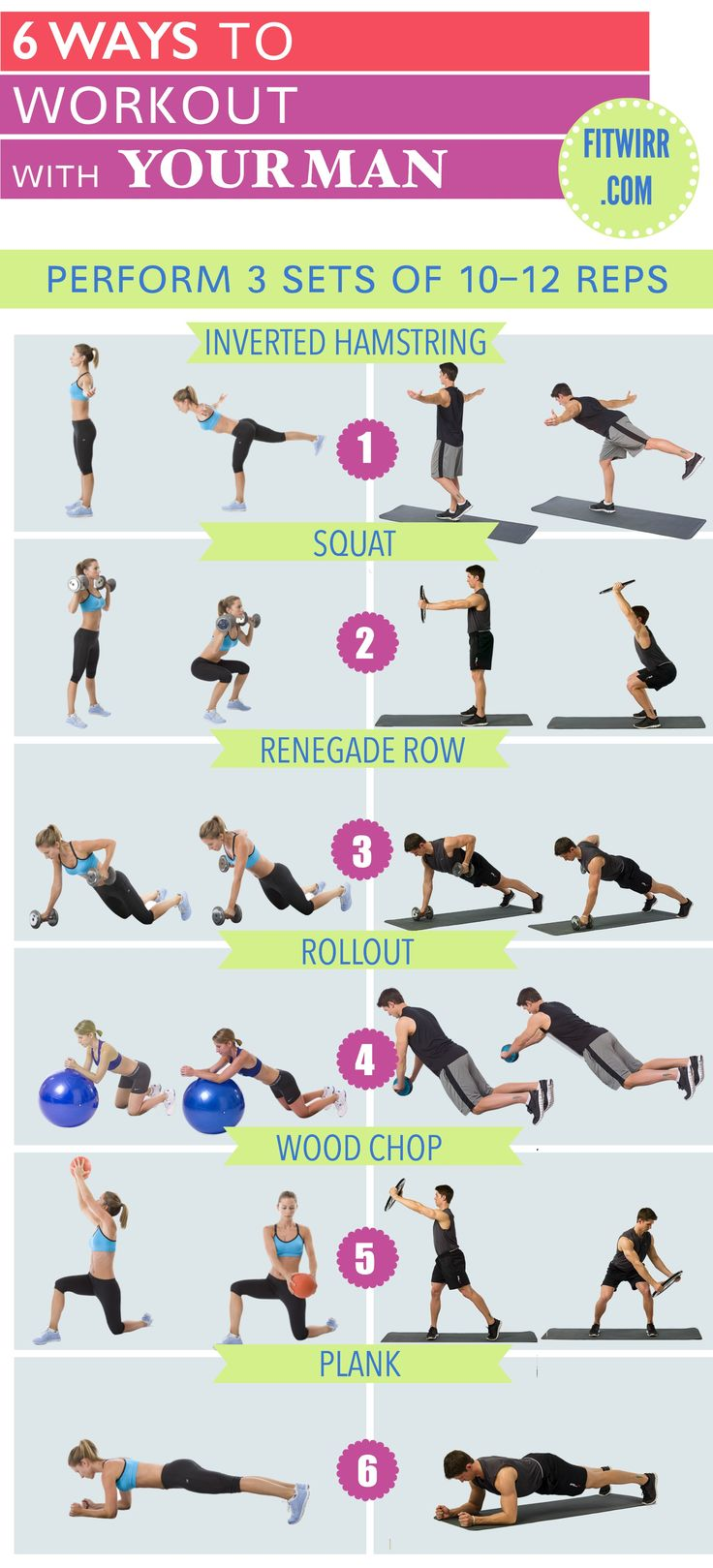 6 Exercises you can do with your man and get fit together. Familiar moves for you and advanced ones for your man.