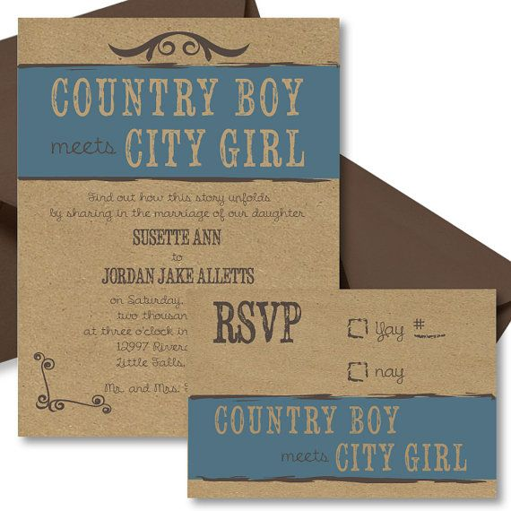 Country Boy Meets City Girl Wedding Invitation by SimplisticStudio, printable or printed