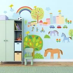 Kit Cameretta Città e Campagna Disegno di Bambino City and Country Childish Drawing Wall Sticker Adesivo da Muro Componibile