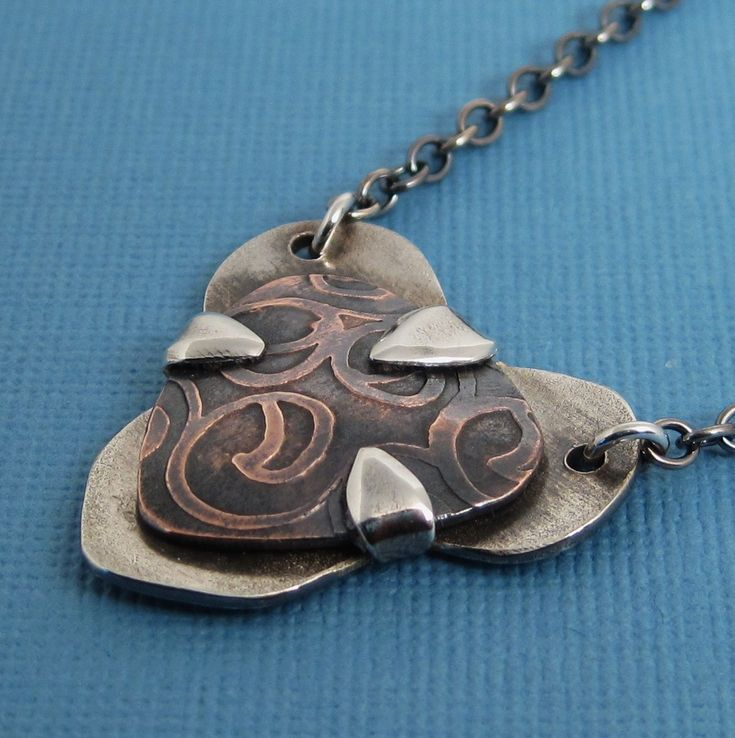 Copperheart: Tab-set solder-free and etched pendant
