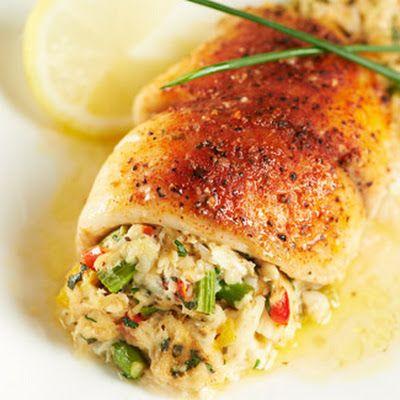 Crab or Shrimp  & Asparagus-Stuffed Tilapia @keyingredient #vegetables #shrimp