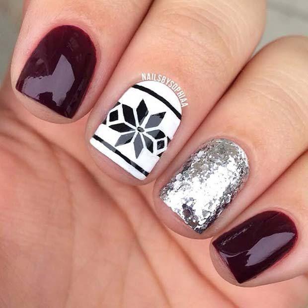 23 Latest Winter-Inspired Nail Art Ideas: #13. FAIR ISLE AND GLITTER NAILS; #nailart; #naildesign