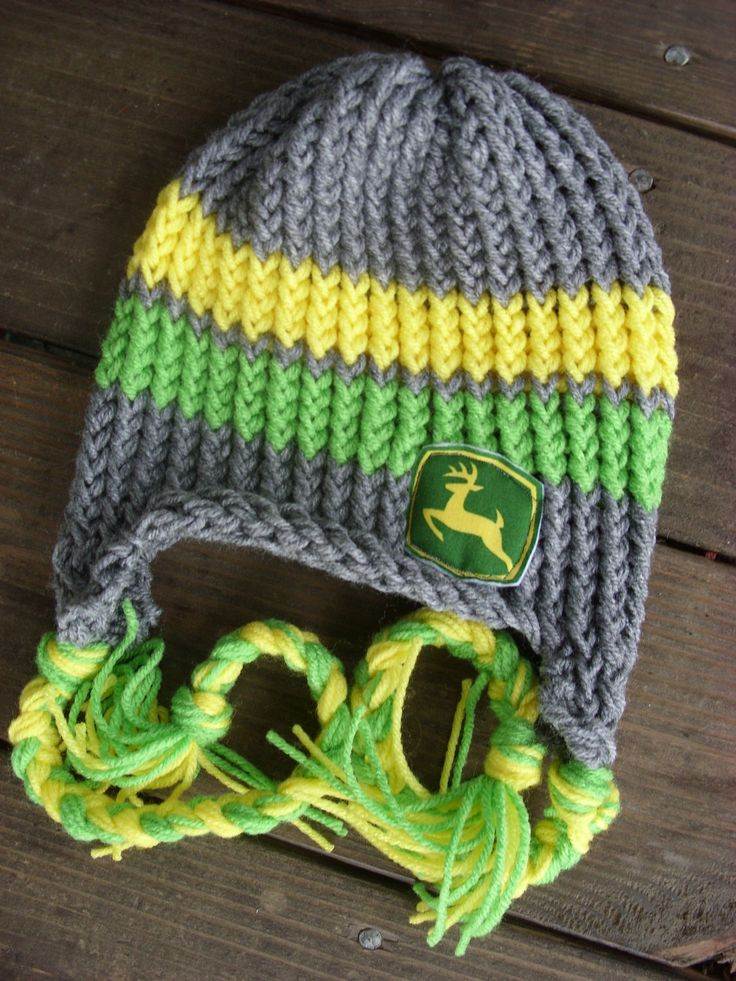 John Deere Inspired Knitted Earflap Hat Green/Pink. , via Etsy. Elliot needs this!
