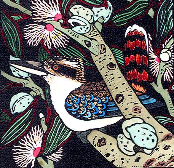 Kit Hiller - Hand coloured linocut