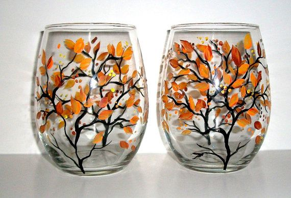 Handpainted Stemless Wine Glasses Fall is in the Air Hand Painted Set of 2 / 21 oz. / Made to Order on Etsy, $40.00