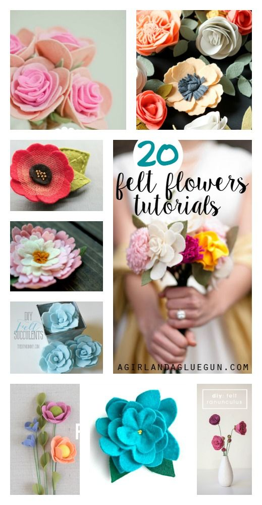 I love felt flowers…they are so pretty…and made with a glue gun! You can pop them in your hair, a vase, on a wreath or on a sign So here are some gorgeous felt flower tutorials! peony peony violets autumn bloom dahlia calla lily poppies succulents layered flower colorful flowers anemone pink rose felt poppies …