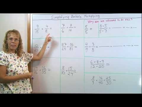 """""""I explain how we can simplify before we multiply fractions, and also why we are allowed to do so."""""""