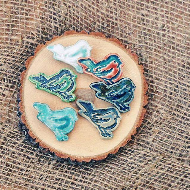 Керамические #птички #броши готовы разместиться на Вашем воротничке👗 Разнообразие цветовых решений и цена в 350 руб, не оставят равнодушной ни одну миледи👸 #славный_гусь #керамикакаждогодня #керамика #керамикатюмень #тюмень #брошь #ручнаяработа #украшения #ceramic #handmade #nicegoose