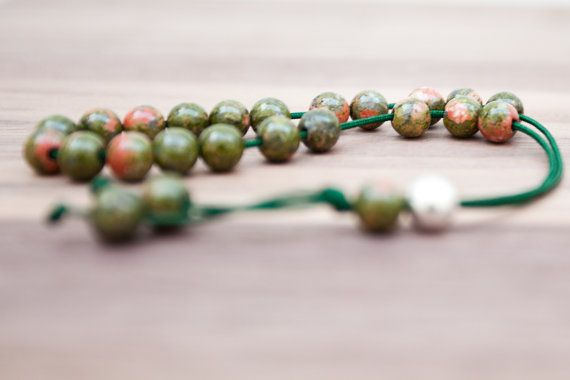 Greek worry beads / kompoloi made from unakite by BelisamaCrafts