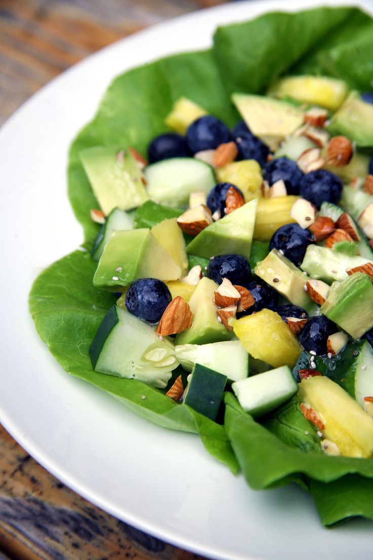 Flat Belly Salad with pineapple, blueberries, almonds and a lemon chia seed dressing
