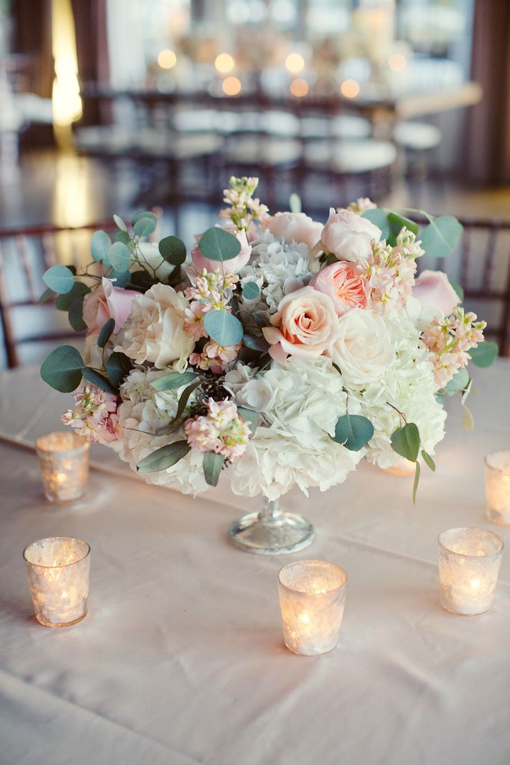 Hydrangea, rose and garden rose #centerpiece #candles | Photography: Sarah Kate - sarahkatephoto.com  Read More: http://www.stylemepretty.com/2014/05/06/urban-english-garden-inspired-wedding/