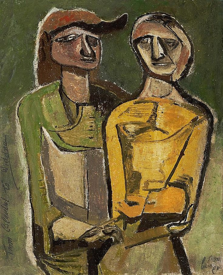 Two figures by Robert Colquhoun (British, 1914-1962) 26.5 x 21.