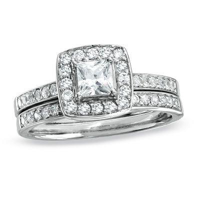 3/4 CT. T.W. Princess-Cut Diamond Framed Double Shank Bridal Set in 14K White Gold