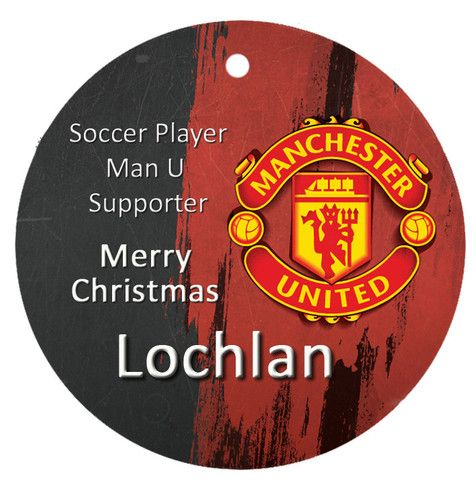 Personalised Christmas Tree Ornament, Soccer Manchester United