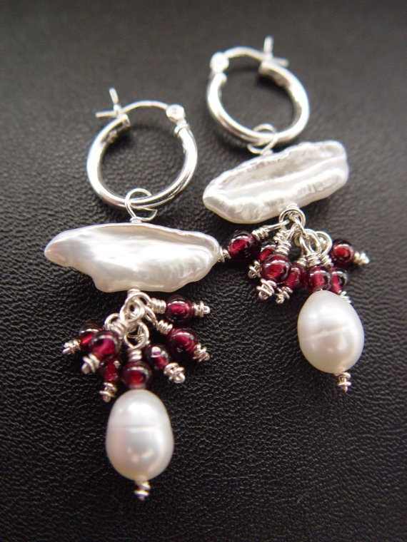 White Biwa Pearl Red Garnet Gemstone and by ARAuthenticDesigns, $29.00