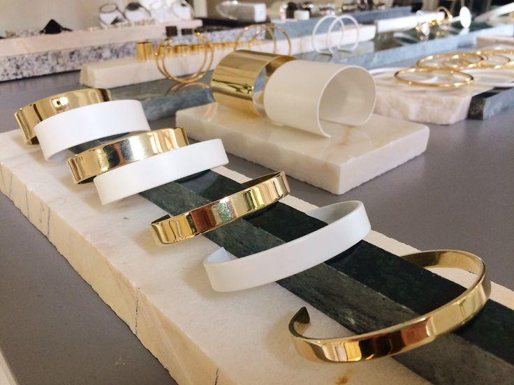 A Y M White & Gold Bracelets